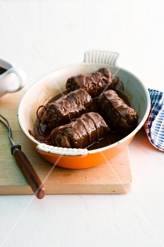 Beef roulade in an oven-proof dish