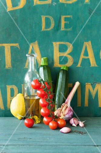 An arrangement of ingredients for Mediterranean cuisine