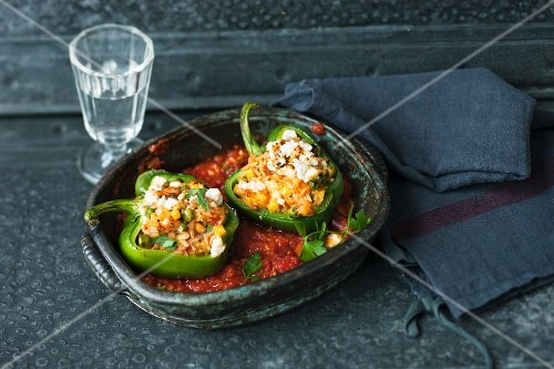 Stuffed peppers with tomato sauce