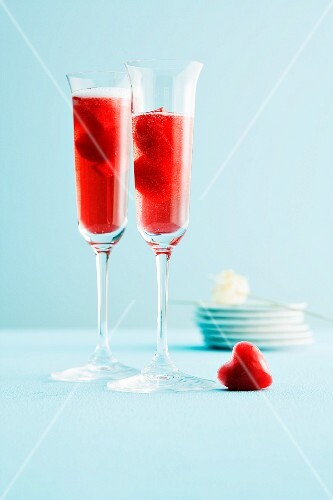 Frozen cherry hearts with champagne