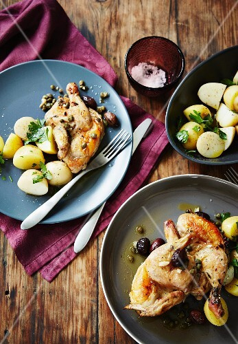 Fried spring chicken with baby potatoes