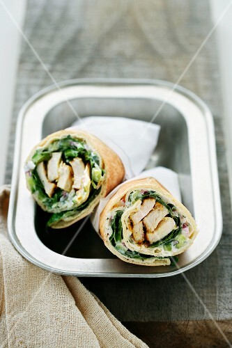 Pita wraps with chicken and mayonnaise