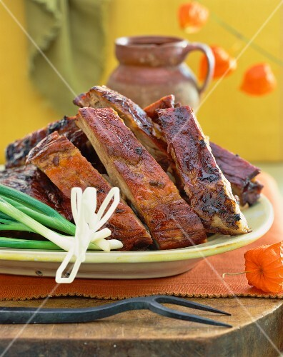 Pork ribs with spring onions