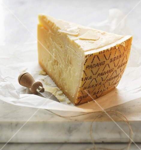 A slice of Parmesan cheese