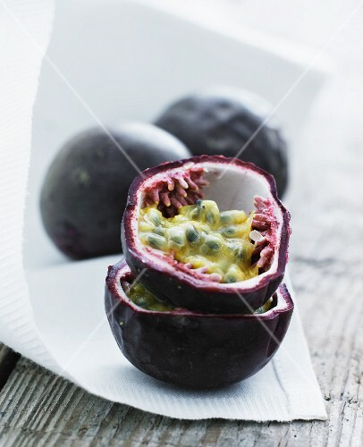 Passion fruit on a white cloth