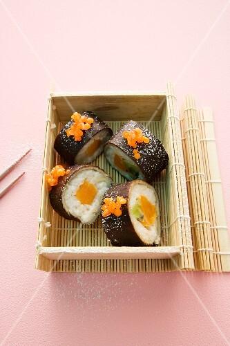 Sweet sushi with fruit