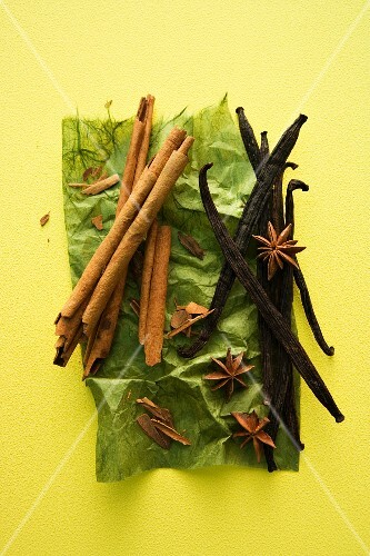 Cinnamon sticks, vanilla pods and star anise on a piece of green paper