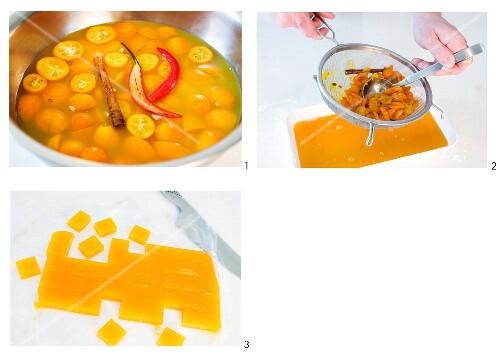 Orange and chilli pralines being made