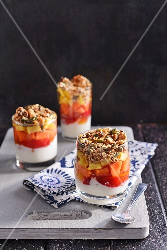 Plum compote with yoghurt and cereals
