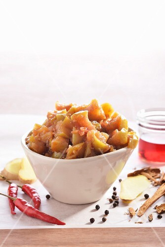Apple and ginger chutney with ingredients