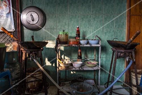 The kitchen of a noodle shop (Thailand)