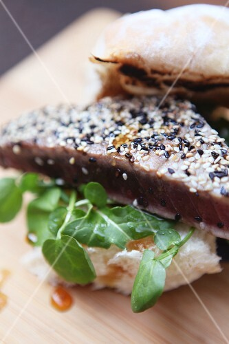 Tuna fish steak with a sesame seed crust