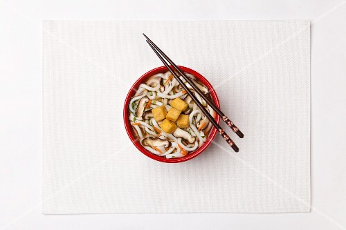 Wheat flour noodle soup with carrots, mushroom, diced tofu and Spring onions (Japan)