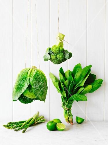 An arrangement of green fruit and vegetables