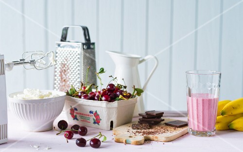 Ingredients for a cherry and chocolate smoothie