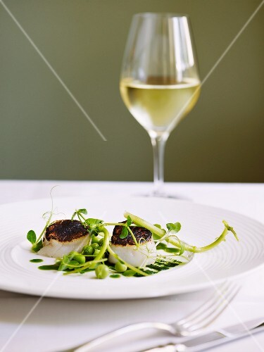 Scallops with young peas