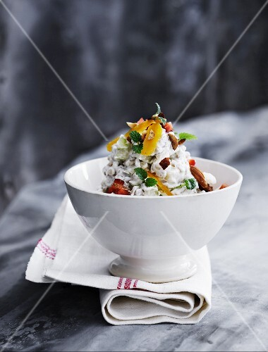 A wheat dessert with nuts and exotic dried fruits