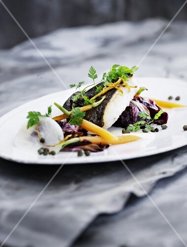 Turbot fillet with a radicchio medley