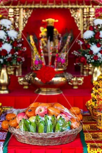 A basket of fruit at a temple (Udon Thani, North-East Thailand)