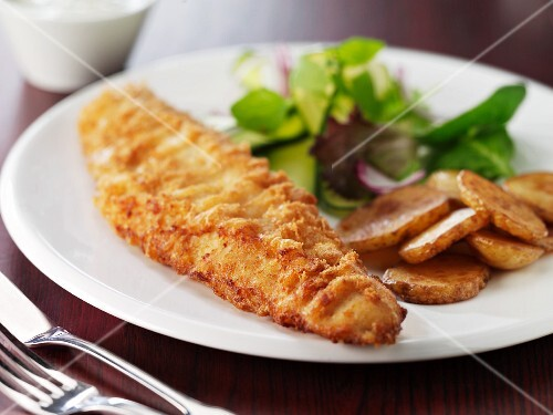 Battered fish with fried potatoes