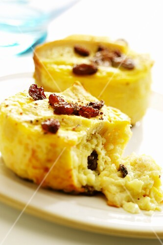 Bread and butter pudding with raisins