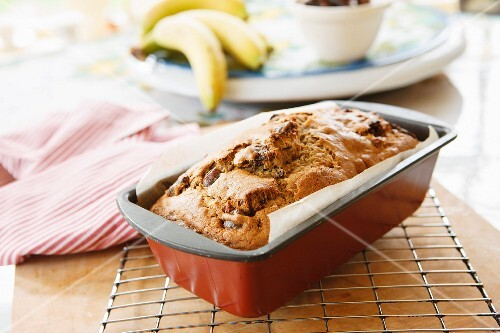 Fruit loaf in a baking tin