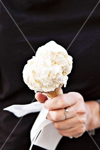 Vanilla Ice Cream Cone on a White Background