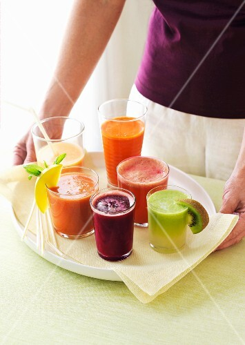 Various fruit and vegetable juices
