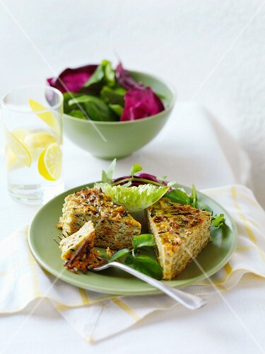 Slices of courgette and Parmesan cake