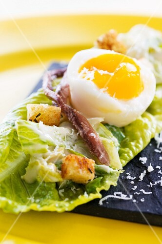 Cos lettuce with egg, anchovies, croutons and Parmesan