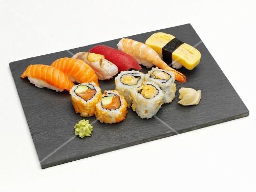 Sushi platter with nigiri and maki sushi