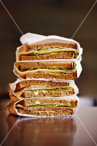 A stack of sandwiches