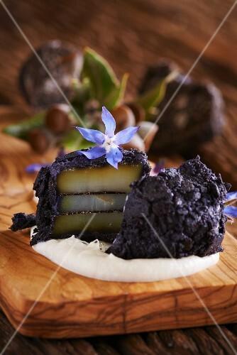 Truffle-coated scallops