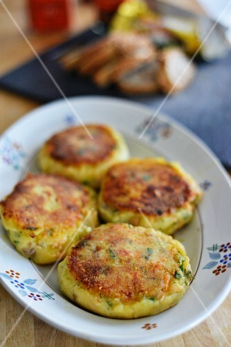 A plate of salmon cakes
