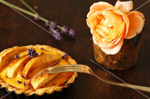An apple tart with lavender