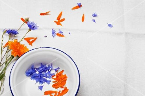Cornflour and marigold petals