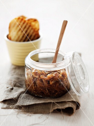 A jar of caramelised onions