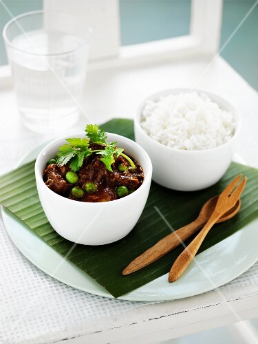 Beef curry with rice, India