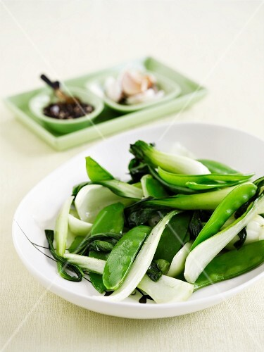 Steamed, green vegetables