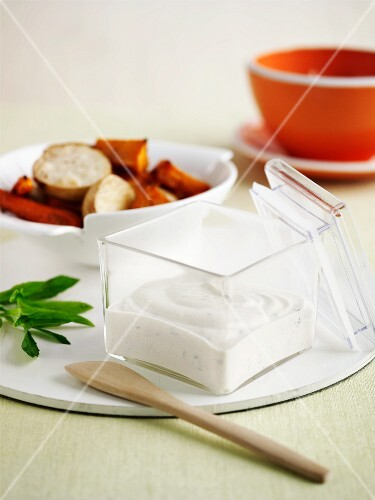 Tzatziki in a glass container