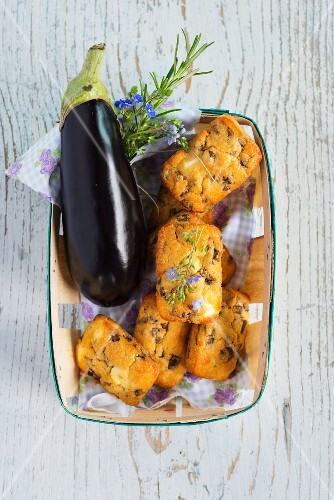 Mini aubergine cakes with feta cheese