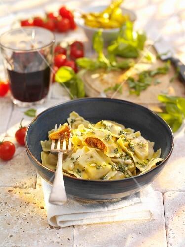 Ravioli filled with tomato and mozzarella