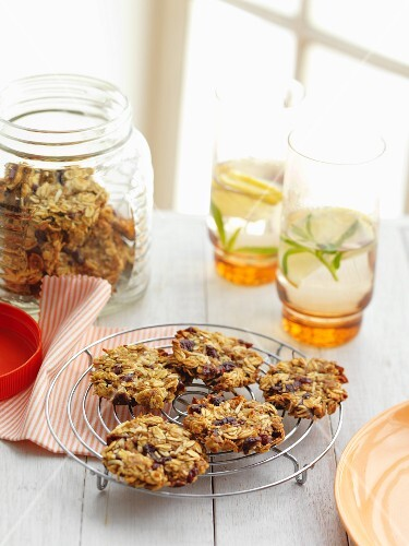 Apple and coconut biscuits with dried cranberries