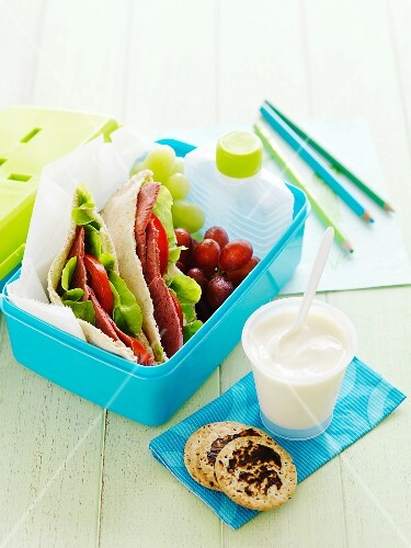 Corned beef pitas, grapes and yoghurt in a lunchbox