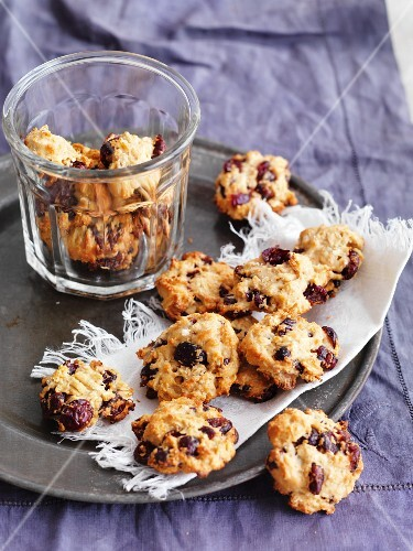 Coconut biscuits with dried cranberries