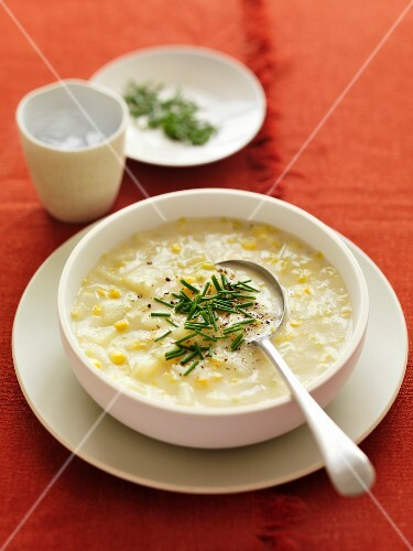 Sweetcorn and potato chowder with chives
