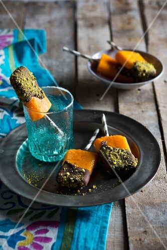 Clementine ice cream sticks with a chocolate glaze