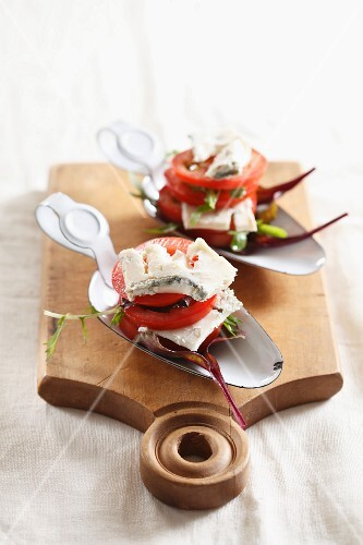 Tomato and Gorgonzola towers