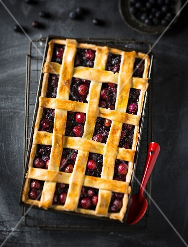 Blueberry and cherry lattice tart