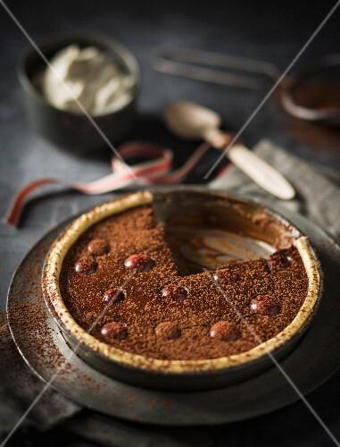Chocolate tart with cherries
